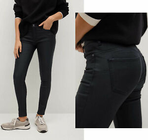Womens Jeans Leather Look Push Up MANGO Ladies Viscose Elastane Skinny RRP £30