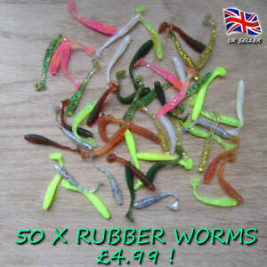 50 x glitter Savage soft worm shads Chub Perch Pike lure Baits Drop Shot gear