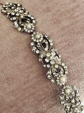 New Crystallized Bridal Tiara Vintage Silver Tone w/ Pearls & Rhinestones