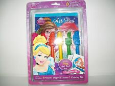 Disney Princess Art Pad 6 Princess -Shaped Crayons 1 Coloring Pad New