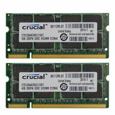 Crucial 8GB 2x 4GB 800 Mhz DDR2 PC2-6400 PC6400 portátil Memoria Sodimm RAM no error-correcting Código
