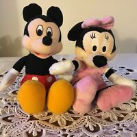 """AUTHENTIC EXCLUSIVE DISNEY ORIGINAL PLUSH STUFFED MICKEY AND MINNIE MOUSE 9"""""""