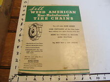 car paper-- WEED AMERICAN BAR-REINFORCED TIRE CHAINS PRICE LIST 1935
