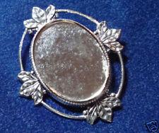 x 30 Glue-On (pkg 1) 0446 4 Leaf Silver Plate Brooch 22