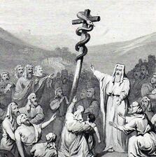 Antique religious print : Nehushtan,Nehustan,serpent,Mozes , brass snake 1864