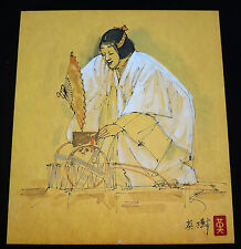 "1970s JAPANESE INK & WC PAINTINGS ""NOH PLAY ACTOR"" by HIDEKI HANABUSA (ree)"