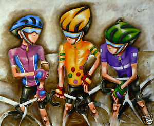 Bike cycling art Le Tour  60cm By Andy Baker authentic COA print painting