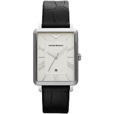 EMPORIO ARMANI Classic Black Leather Men's WATCH AR1660 NEW! Low Inter Shipping!