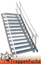 12 Stufen Stahltreppe mit einseitig. Geländer Breite 90 cm  Geschosshöhe 180-240