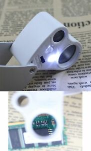 30X & 60X Jewelry Jewelers Eye Magnifier Magnifying Lens Glass Loupe LED Light