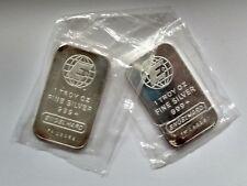 2 Vintage Engelhard 1oz .999 Fine Silver Bar Sealed SERIAL # Bullion EB01