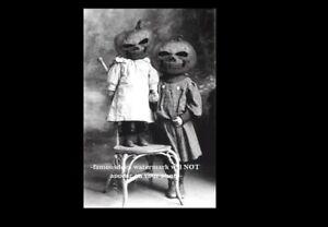 Vintage Creepy Children Halloween PHOTO Pumpkin Costume Freak Scary Kids Mask