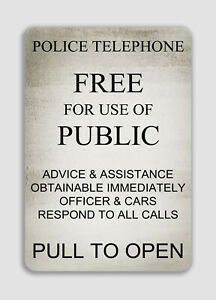 Doctor Who Tardis Police Box TELEPHONE Novelty Aluminum Sign, TARDIS IN/OUT DOOR