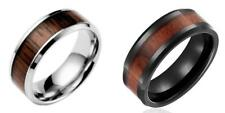 Mens Wood Black Stainless Steel Band Ring Size 6 7 8 9 10.5 11 12 13 14 Wedding