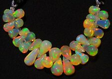 Natural Ethiopian Opal Ultimate Quality Rainbow Fire Teardrop Briolettes 3 Inch