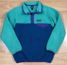 PATAGONIA SNAP T Fleece Pullover Girls Or Boys Size 10 Or Medium Green And Blue