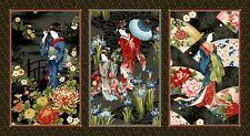 "Pre-cut Fabric Panel Kona Bay Nobu Fujiyama Geisha Charm, 23"" x 43"" Blk w/Met"