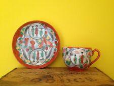 Vintage Japanese oriental look Geisha wearl handpainted orange tea cup saucer