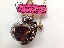 Betsey Johnson Necklace Crystal Heart Pendant