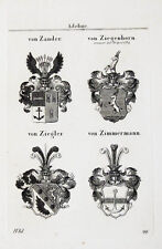 1837 4 Wappen von Zander Ziegenhorn Ziegler Zimmermann Kupferstich Tyroff