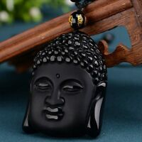 Pendant + Beads Necklac Natural Black Obsidian Hand-Carved Lucky Buddha Amulet