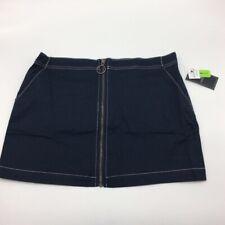 Volcom Womens Frochickie Pencil Skirt Navy Blue Full Zip Pockets L New