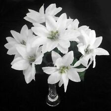 3 WHOLESALE CHRISTMAS POINSETTIA FLOWERS SILK WHITE SILVER CENTER 7 HEADS CRAFT
