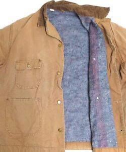vtg Carhartt 80s BROWN BLANKET LINED COAT sz 54 faded 6BLC cord collar made USA