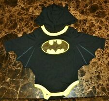 """NEW"" Batman Costume ~ HOODIE WINGED Creeper BODYSUIT ~ Sz NB Newborn DC Comics"