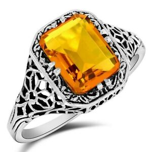 2CT Golden Citrine 925 Solid Sterling Silver Edwardian Style Ring Sz 9, UF18