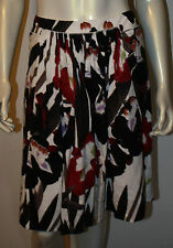 ELIE TAHARI White Black Red Floral Smock Front Skirt 10 Stitch Detail