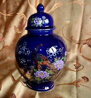 Japanese Cobalt Blue Gold Peacock Pink Floral Porcelain Ginger Jar Urn & Lid