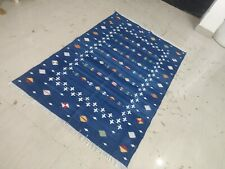 Handwoven 4'x6' Blue Shooting Star Reversible Cotton Rug Dhurrie Yoga Flat Weave
