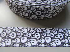 Ghost Face Grosgrain Ribbon 2.2cm  x 1 Metre  Costume/Crafts/Cake/Halloween