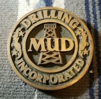Vintage Brass Drilling Mud Incorporated ~ Oil Rig Oilfield Desk Paperweight ~Z5