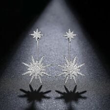 Luxury Micro Paved CZ Drop Dangle Earrings Double Side White Gp Snowflake