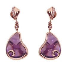 14K Rose Gold Pear Amethyst Earrings