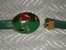 "Dotty Smith Golf Buckle with Green Fashion Belt 1/2"" W x 33"" L"
