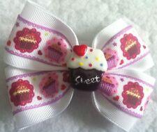 "Girls Hair Bow 4"" Wide Cupcake White Pink Purple Grosgrain Ribbon Alligator Clip"