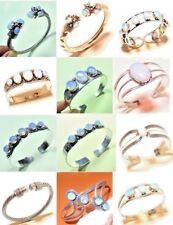 Fire Opal Stone 925 Silver Plated Handmade Bangle Cuff Bracelet Jewelry Z