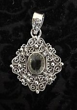 Green Amethyst Gemstone Pendant Solid 925 Sterling Silver Jewelry