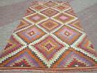 "Turkish Kilim Antique Rug Geometric Design Wool Rug 73,6""x151,1"" Area Rug Carpet"