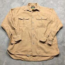 CABELA'S CHAMOIS SHIRT M MEN 90s VTG Hunting 2 Pockets Flannel Work Brown Heavy