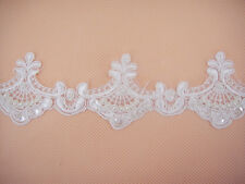 Beaded Bridal Lace Trimming Embroidered Trim Ribbon Wedding Floral Corded Edging