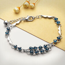 NEW Fashion Women Silver Plated Lovers Crystal Bracelet Jewelry Charm Gift X28