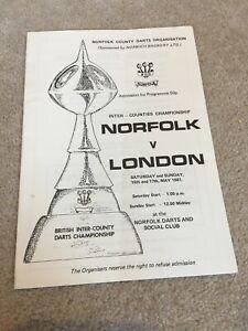 1981 Darts programme Norfolk v London at Norfolk Darts & Social Club