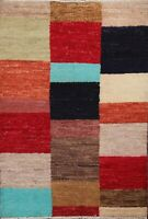 Checkered Gabbeh Oriental Area Rug Hand-knotted Wool Modern Oriental Carpet 3x3