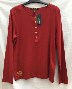 Ralph Lauren LRL Red L/S Top Shirt Cotton Gold Buttons Gold Logo BNWT Macy's NY