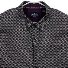 Nat Nast Mens Silk Hawaiian Shirt Large Short Sleeve Geometric Purple White