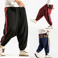 Men's Casual Loose Harem Pants Elastic Waist Ethnic Style Yoga Aladdin Trousers